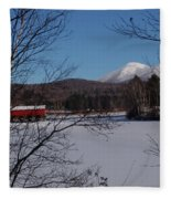 Red Dam And Percy Peaks In Winter Fleece Blanket