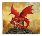 Red Dragon's Treasure Chest Fleece Blanket