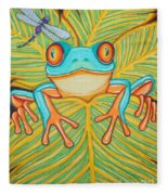 Red Eyed Tree Frog And Dragonfly Fleece Blanket