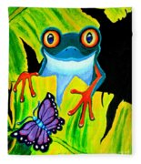 Red Eyed Tree Frog And Purple Butterfly Fleece Blanket