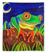 Red-eyed Tree Frog And Starry Night Fleece Blanket