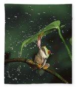 Red-eyed Tree Frog In The Rain Fleece Blanket