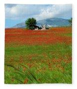 Red Fields Fleece Blanket