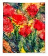 Red Floral Abstract Fleece Blanket