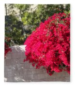 Red Flower Bushes Fleece Blanket
