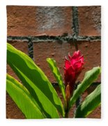 Red Flower Iv Fleece Blanket