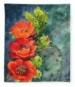 Red Flowering Prickly Pear Cactus Fleece Blanket