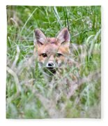 Red Fox Baby Hiding Fleece Blanket