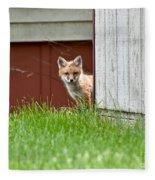 Red Fox Kit Peaking Around Old Barn Fleece Blanket
