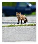 Red Fox Kit Standing On Old Road Fleece Blanket