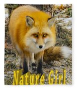 Red Fox Nature Girl Fleece Blanket