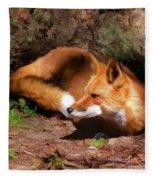 Red Fox Resting Square Fleece Blanket