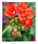 Red Fresh Geraniums Fleece Blanket