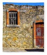 Red Gate, Stone Wall Fleece Blanket