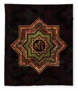Red Gemstone And Gold  Star Of Lakshmi -  And Sri Fleece Blanket