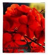 Red Geranium Anniversary Greeting Fleece Blanket