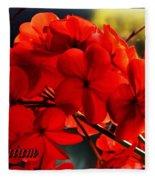 Red Geranium Fleece Blanket