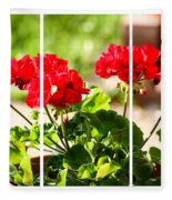 Red Geraniums Triptych Fleece Blanket