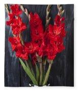 Red Gladiolus In Striped Vase Fleece Blanket