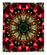 Red Gold Green Kaleidoscope 1 Fleece Blanket