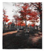 Red Fall Graveyard Fleece Blanket