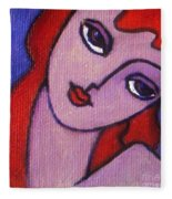 Red Hair Girl Fleece Blanket