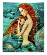 Red Hair Mermaid Mother And Child Fleece Blanket