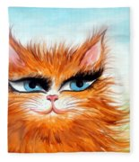 Red-haired Sofia The Cat Fleece Blanket