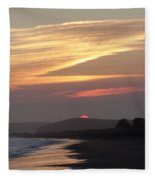 Red Half Dome Of Sun And Zig Zag Clouds And Surf Fleece Blanket