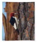 Red Headed Woodpecker Fleece Blanket