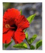 Red Hibiscus Fleece Blanket