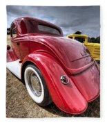 Red Hot Rod - 1930s Ford Coupe Fleece Blanket