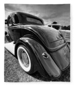 Red Hot Rod In Black And White Fleece Blanket