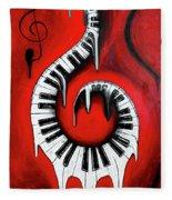 Red Hot - Swirling Piano Keys - Music In Motion Fleece Blanket
