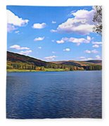 Red House Lake Allegany State Park Expressionistic Effect Fleece Blanket