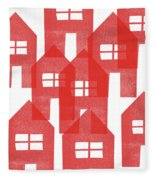 Red Houses- Art By Linda Woods Fleece Blanket