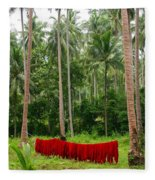 Red In The Jungle Fleece Blanket