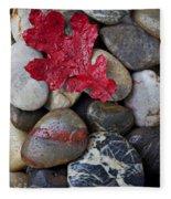 Red Leaf Wet Stones Fleece Blanket