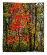 Red Leaves Of Autumn Fleece Blanket
