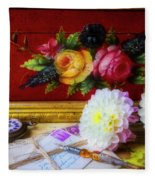 Red Letter Box And Dahlias Fleece Blanket