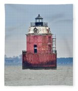Red Lighthouse At The Sandy Point State Park Fleece Blanket