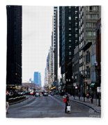 Red Lights - City Of Chicago Fleece Blanket