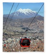 Red Line Cable Car Cabin And Mt Illimani Bolivia Fleece Blanket