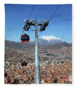 Red Line Cable Cars And Mt Illimani La Paz Bolivia Fleece Blanket
