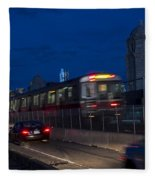 Red Line Train Rumbling Over The Longfellow Bridge In Boston Ma Fleece Blanket