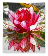 Red Lotus Flower Fleece Blanket