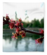 Red Maple Buds At Dawn Fleece Blanket