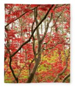 Red Maple Leaves And Branches Fleece Blanket
