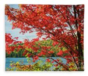 Red Maple On Lake Shore Fleece Blanket