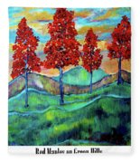 Red Maples On Green Hills With Name And Title Fleece Blanket